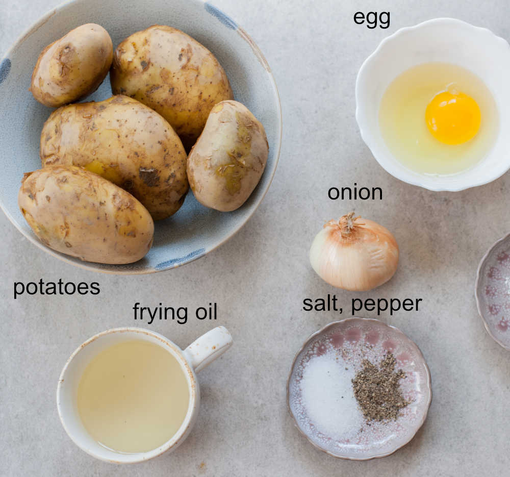 ingredients needed to prepare potato pancakes
