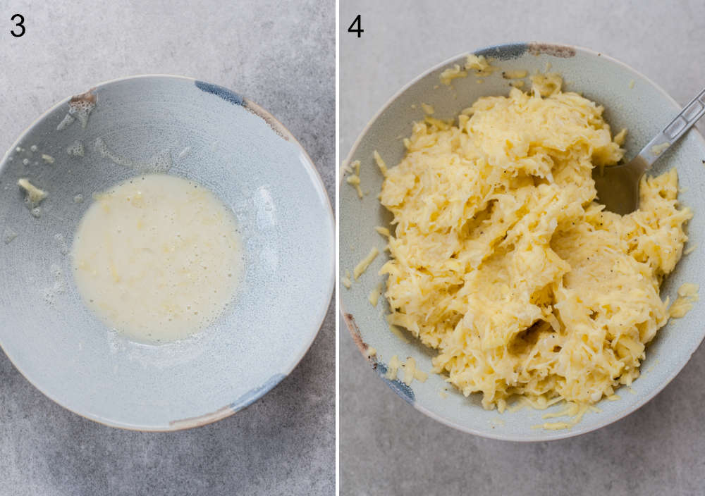 left: potato starch in a blue bowl, right: potato pancakes batter