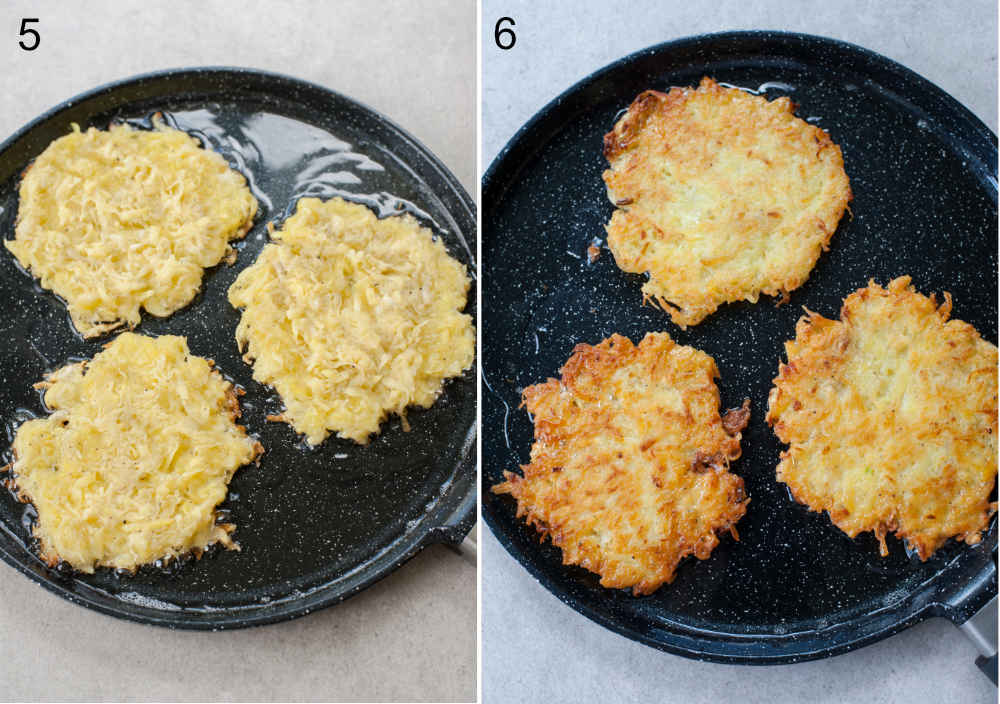 frying the potato pancakes on a black pan