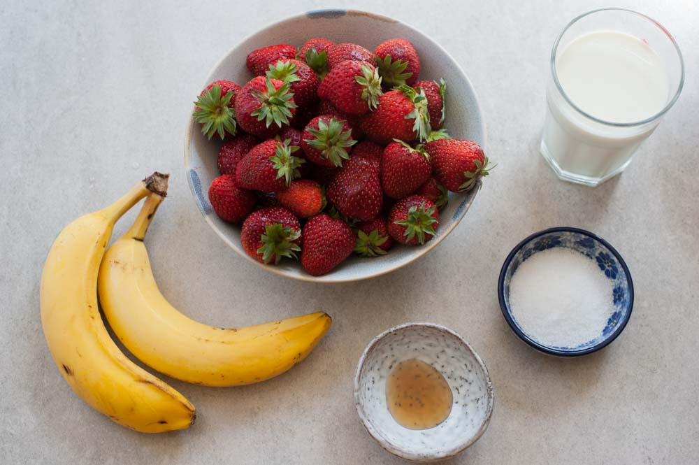 ingredients for strawberry banana milkshake