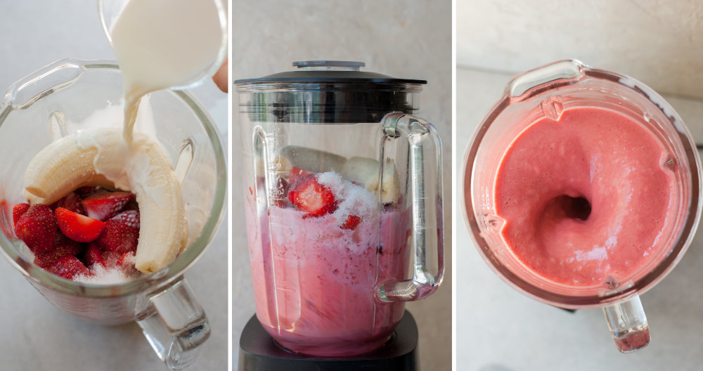 a collage of three photos showing preparation steps of strawberry banana milkshake