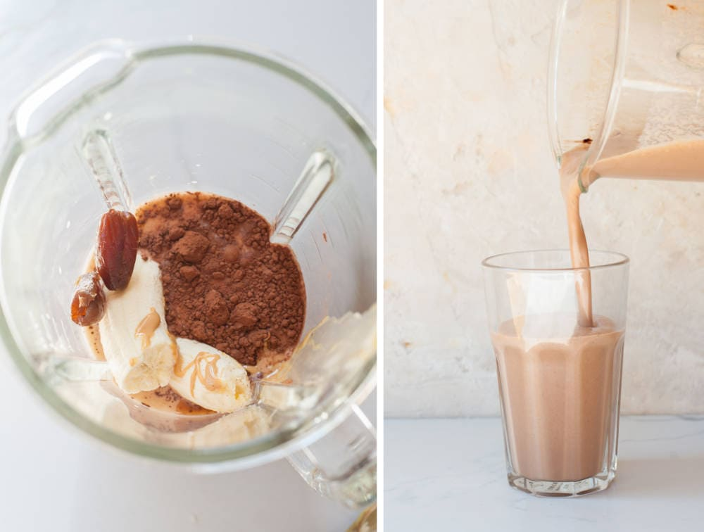 a collage of two photos showing preparation steps of chocolate peanut butter banana smoothie