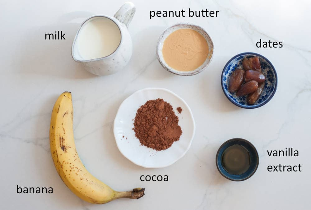 ingredients needed to prepare chocolate peanut butter banana smoothie