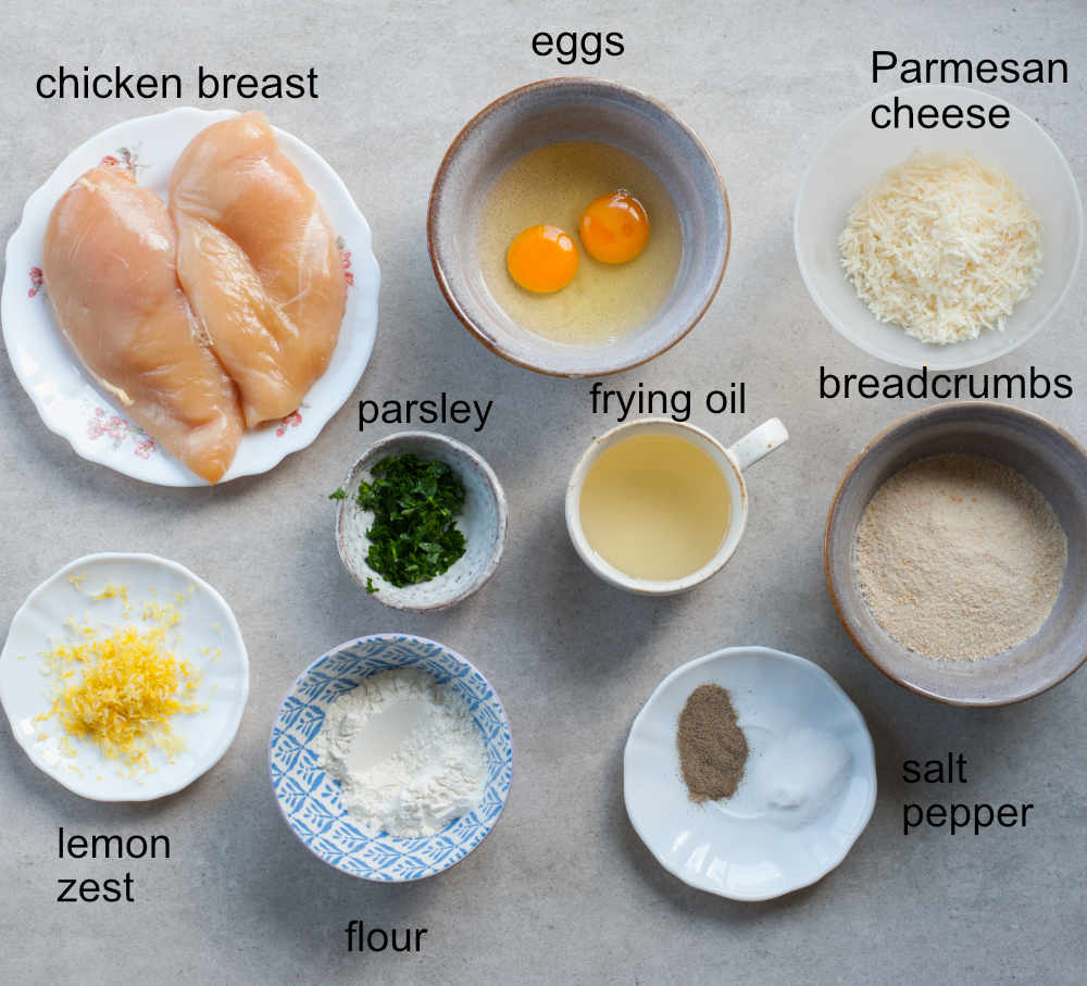 Labeled ingredients for breaded chicken cutlets.