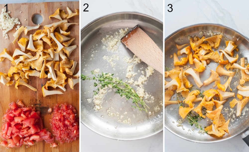 a collage of three photos showing preparation steps of chanterelle pasta