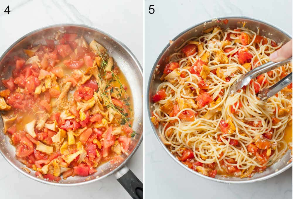 a collage of two photos showing preparation steps of chanterelle pasta