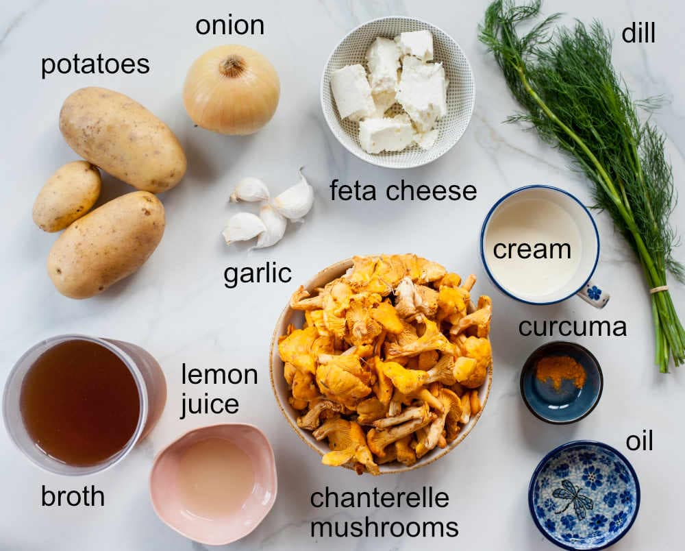 ingredients needed to prepare chanterelle soup