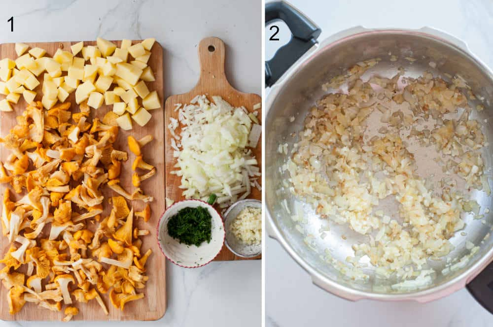 left photo: prepared ingredients, right photo: sauteed onion in a pot