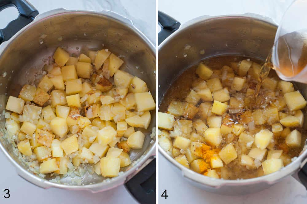broth is being added to sauteed potatoes and onions in a pot