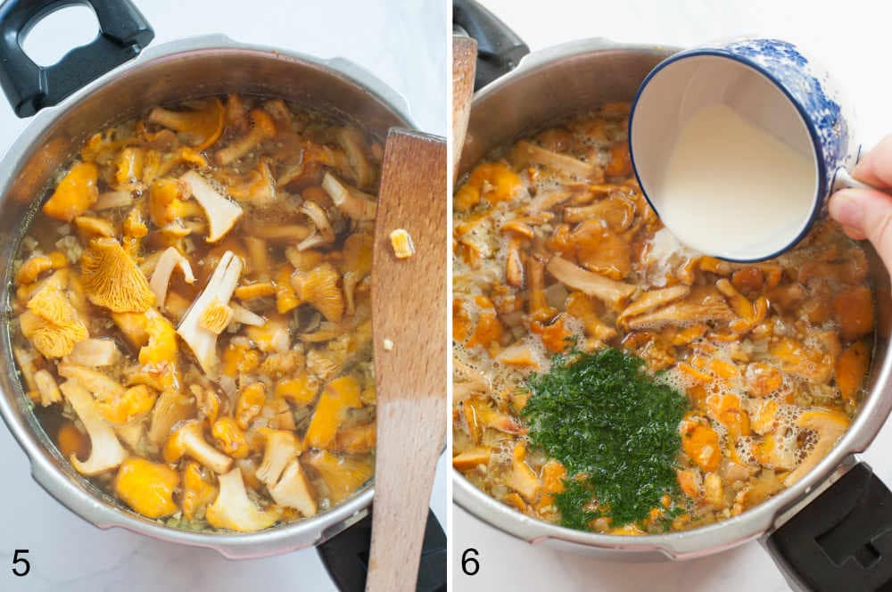 cream is being added to the pot with chanterelle mushrooms