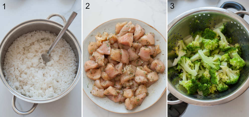 cooked rice in a pot, marinated chicken on a plate, cooked broccoli in a pot