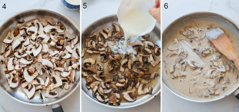 a collage of three photos showing preparation steps of mushroom sauce