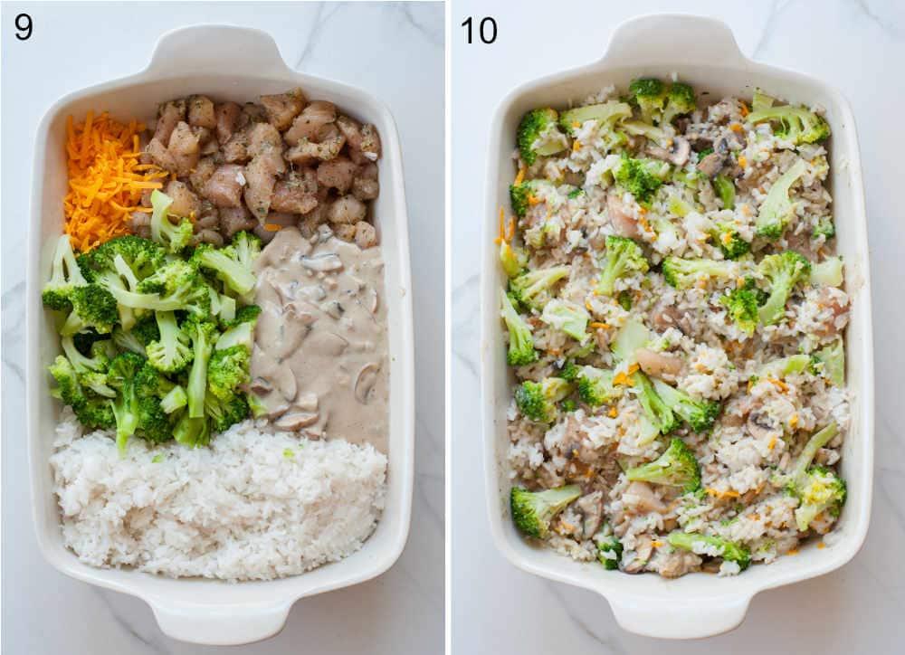 assembling steps of chicken broccoli rice casserole