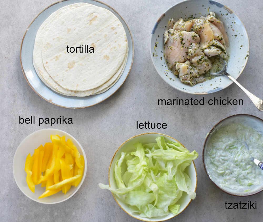 ingredients needed to prepare greek chicken wraps