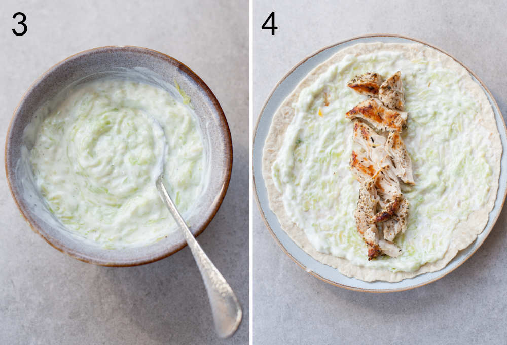 left photo: tzatziki sauce in a bowl, right photo: chicken wrap assembling steps