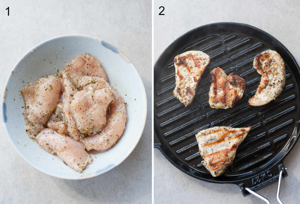 left photo: marinating the chicken, right photo: cooking the chicken in a grill pan