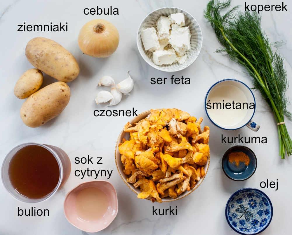 składniki potrzebne do przygotowania zupy kurkowej