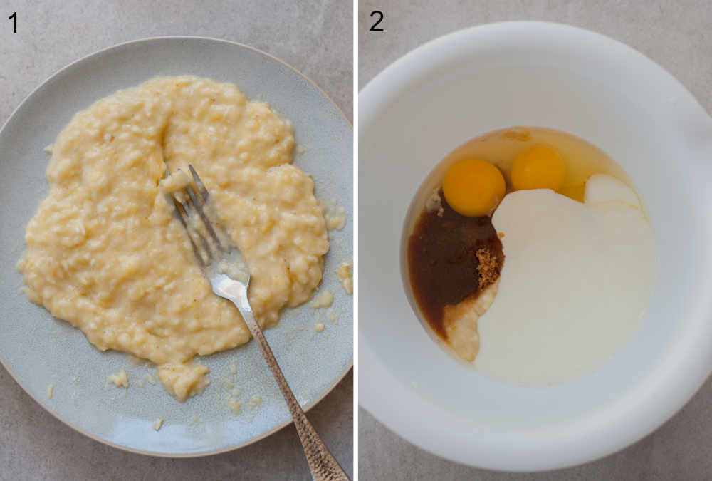 mashed bananas on a plate, wet ingredients for pancakes in a white bowl