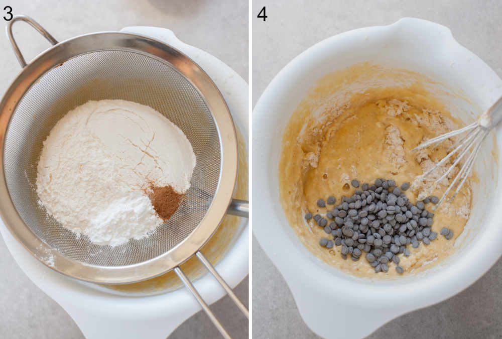 flour is being sifted into a white bowl, chocolate chips are being added to the pancake batter