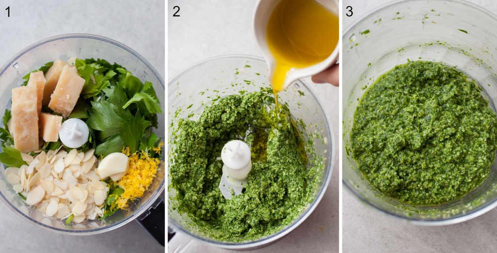 kolaż 3 zdjęć pokazujący etapy przygotowania pesto z liści selera naciowego
