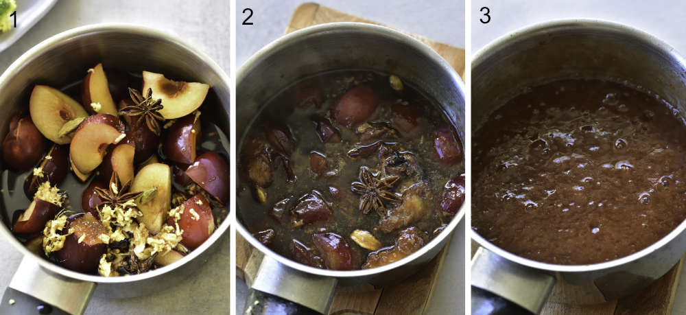 a collage of 3 photos showing the preparation steps of chinese plum sauce