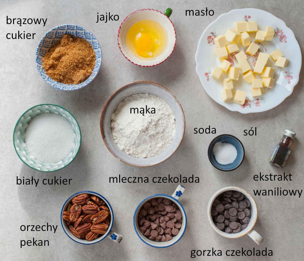 Składniki na ciastka z czekoladą i orzechami.
