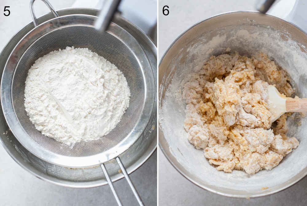 Flour is being sifted in a bowl. Half-combined cookie batter in a bowl.