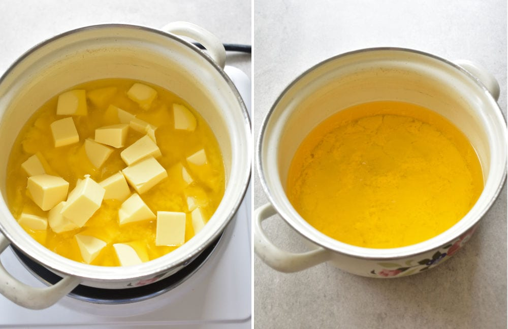 Cubed butter in a pot. Melted butter in a pot.