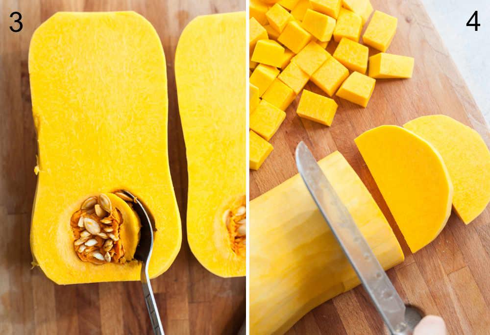 Usuwanie pestek z dyni i krojenie dyni na kawałki.