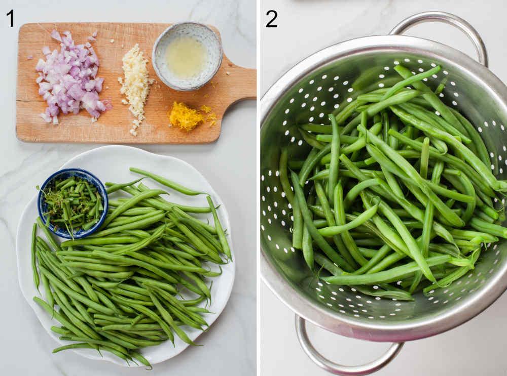 przygotowane składniki na fasolkę szparagową po francusku, fasolka szparagowa w durszlaku