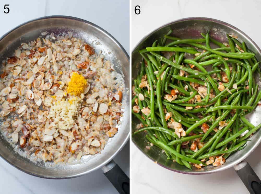 prażone migdały z masłem, czosnkiem i skórką z cytryny na patelni, fasolka szparagowa na patelni