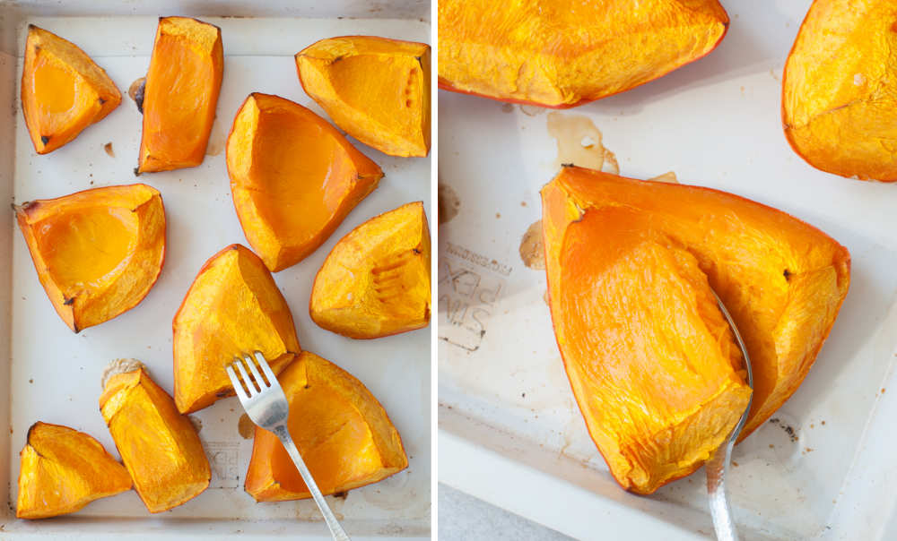 Roasted pumpkin on a baking sheet. Scooping out the flesh from a roasted pumpkin.