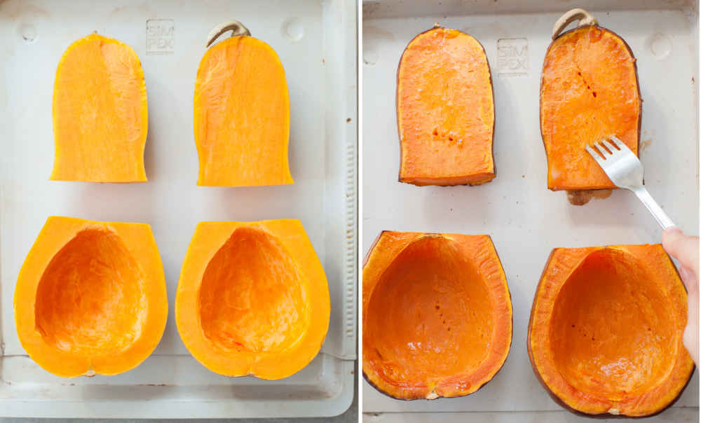 Butternut squash ready to be roasted. Roasted butternut squash on a baking sheet.