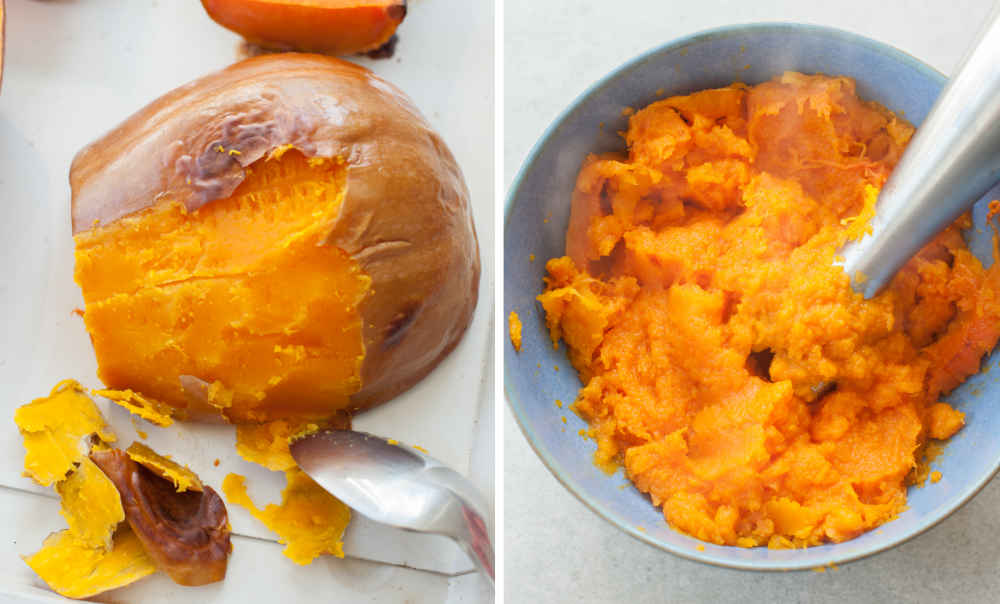 Scraping the skin from a roasted butternut squash with a spoon. Pumpkin puree is being mixed with a hand mixer.