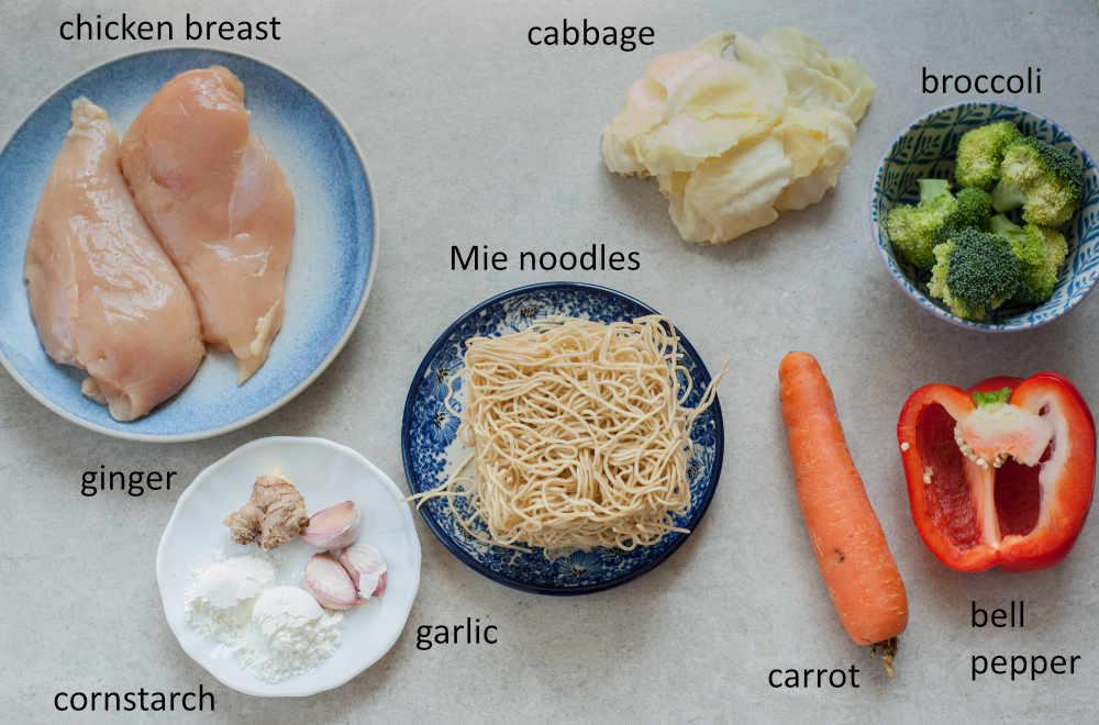 ingredients needed to prepare chicken stir fry