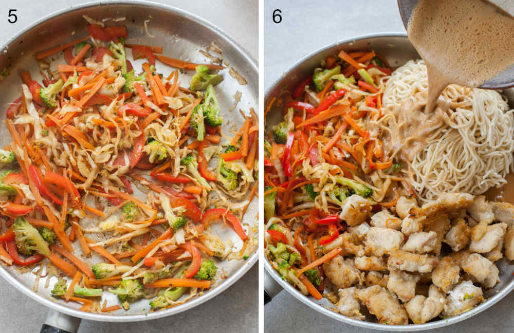 left photo: sauteed veggies in a pan, right photo: peanut butter is being poured over veggies, chicken and noodles