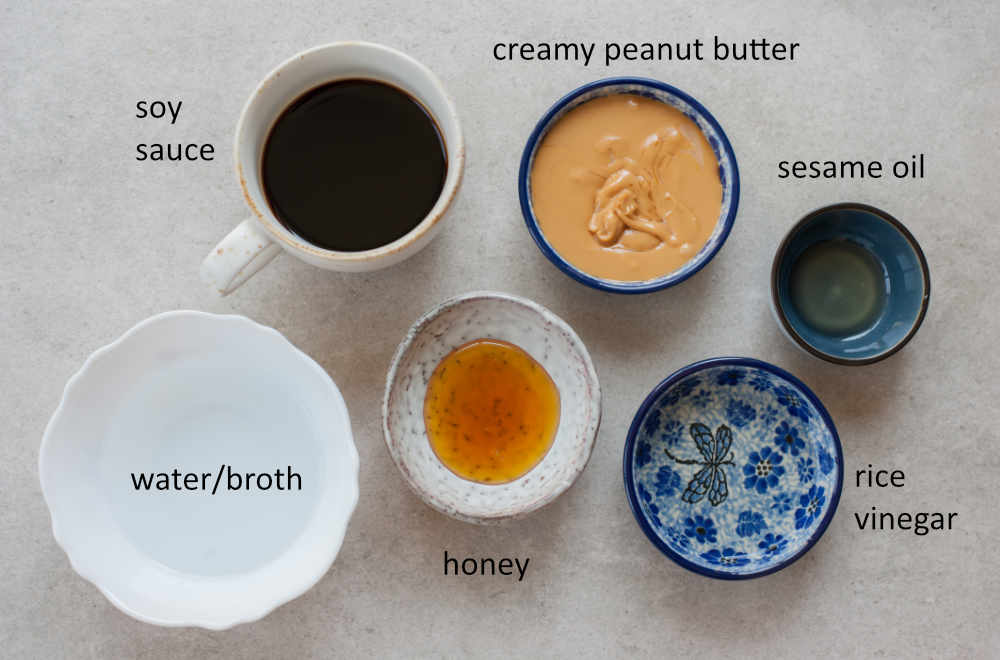labeled ingredients for peanut butter sauce