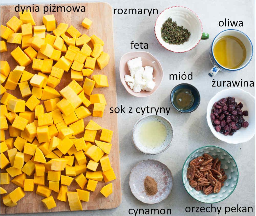 Składniki potrzebne do przygotowania pieczonej dyni z orzechami, żurawiną i serem feta.