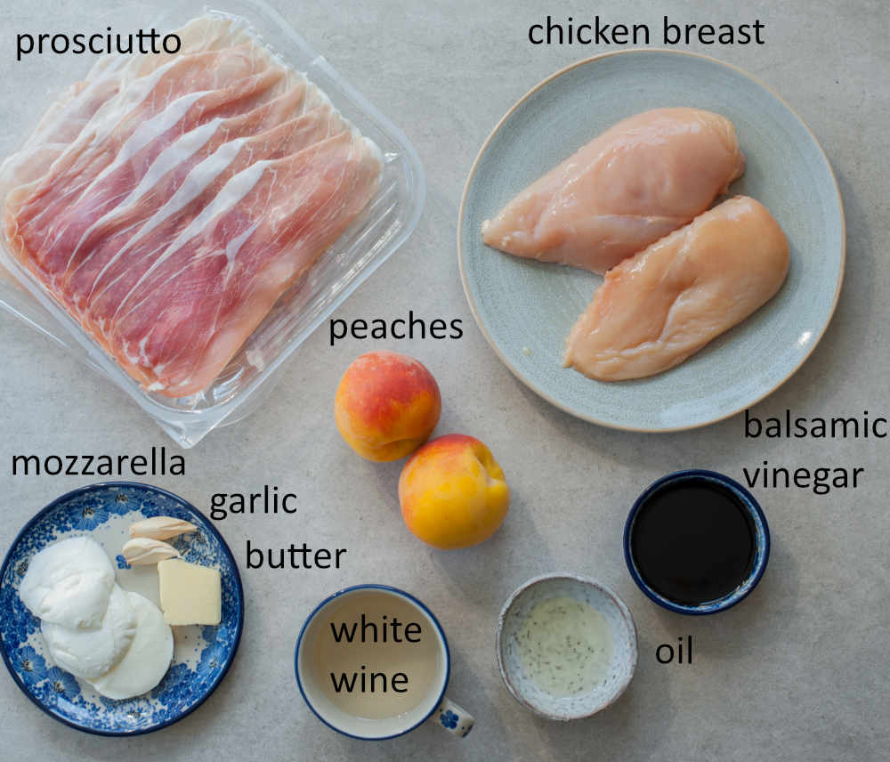 Ingredients needed to prepare prosciutto-wrapped chicken with peaches and balsamic glaze.