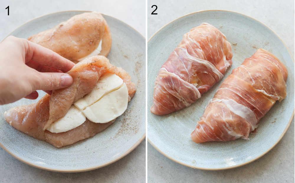 Chicken breast stuffed with mozzarella cheese and wrapped in prosciutto ham.