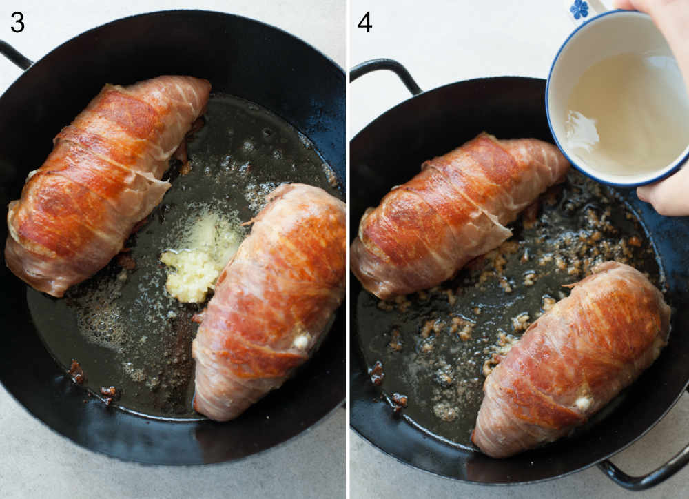 Chicken breast wrapped in prosciutto ham is being seared in a pan, garlic and wine are being added.