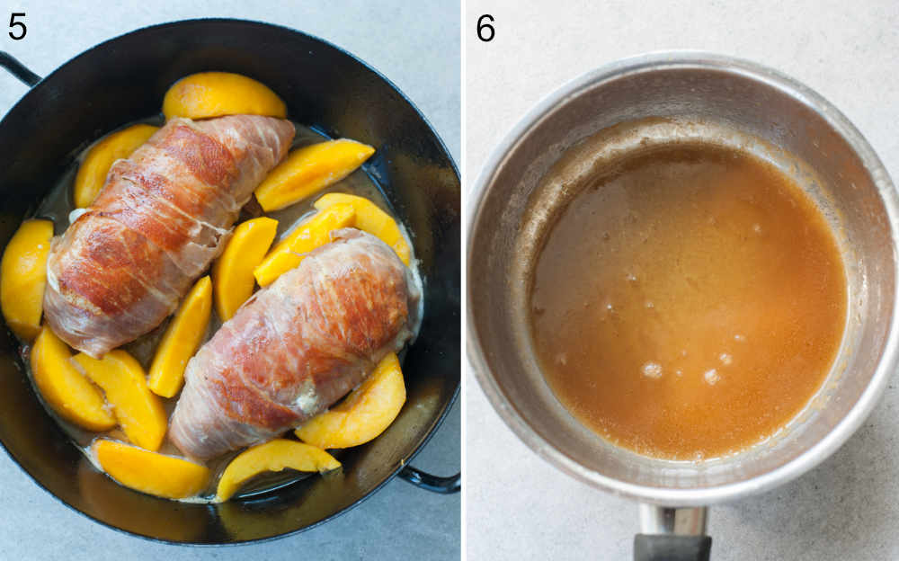 Prosciutto-wrapped chicken with peaches in a black pan. Pan sauce in a saucepan.