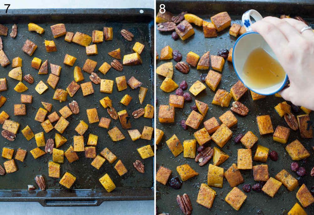 Sok z cytryny i miód są dodawane do upieczonej dyni z orzechami na czarnej blaszce do pieczenia.