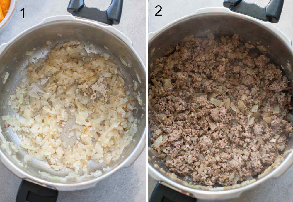 Cooked onion and garlic in a pot. Cooked ground turkey with spices in a pot.