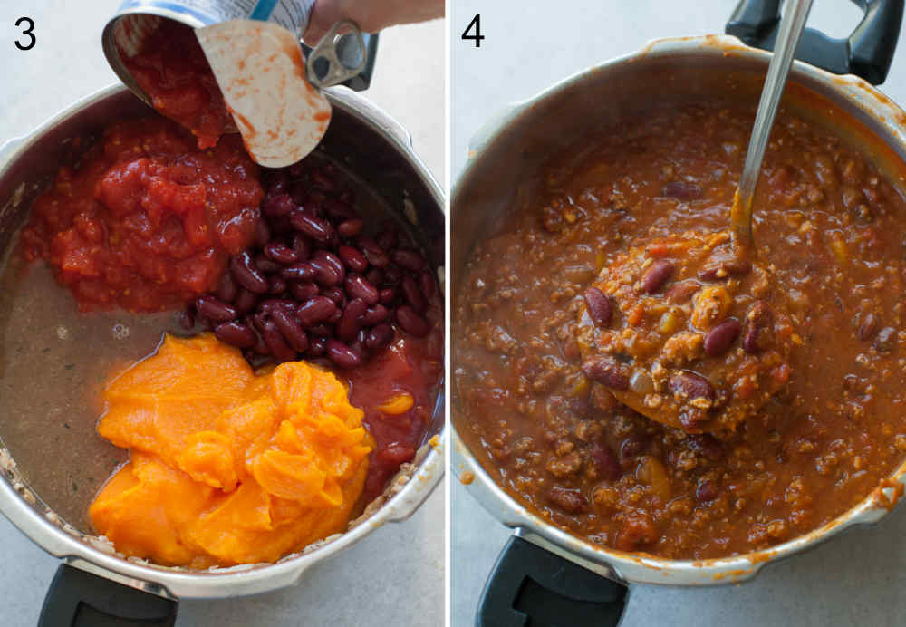 Canned tomatoes are being added to a pot with beans, pumpkin puree, broth and ground turkey. Ready to eat pumpkin turkey stew in a pot.