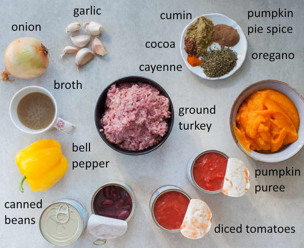 Ingredients needed to prepare turkey pumpkin chili.