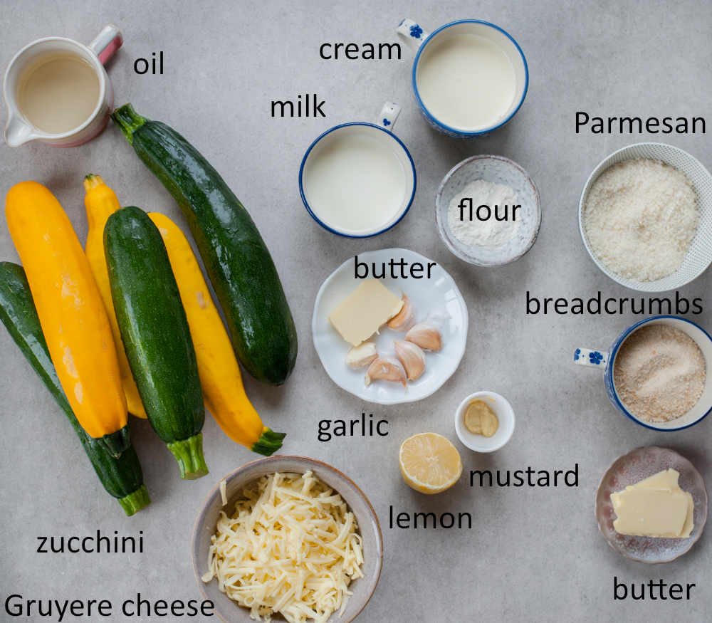 ingredients needed to prepare zucchini gratin