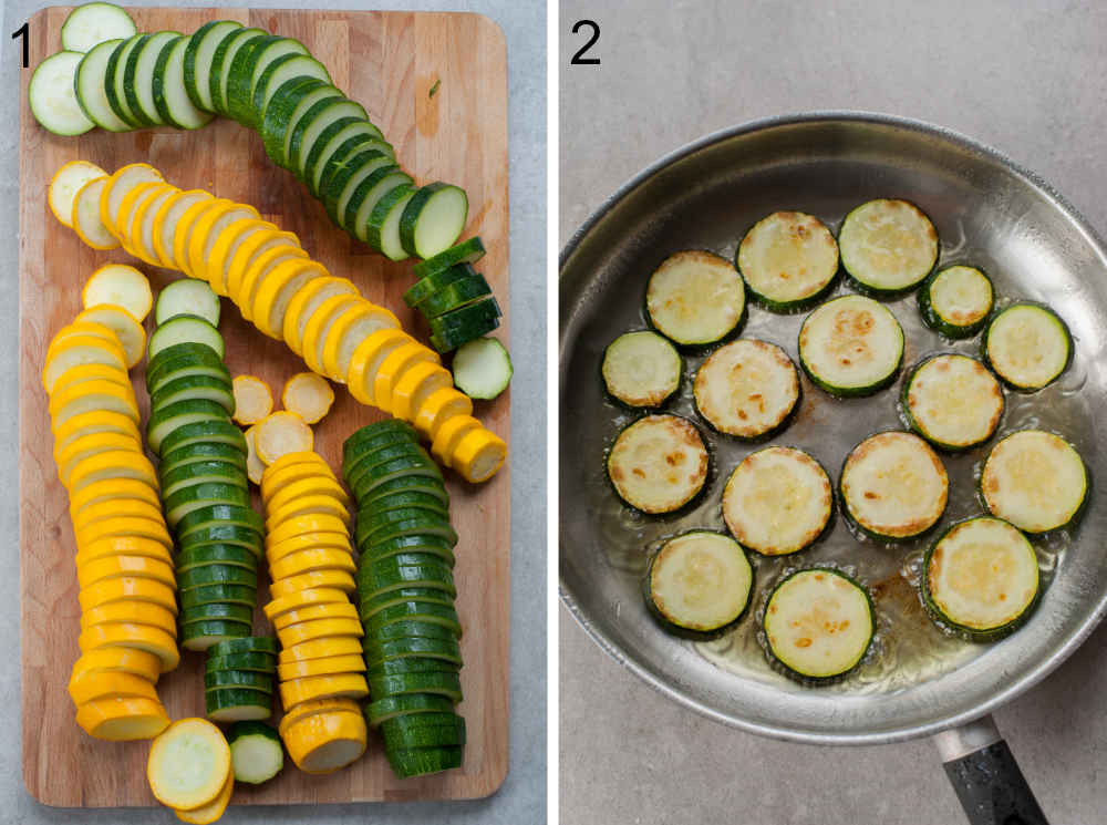 zucchini cut into slices on a chopiing board, sauteed zucchini in a pan