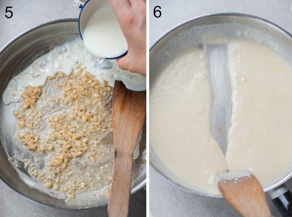 śmietana dodawana do czosnku na patelni, biały sos na patelni
