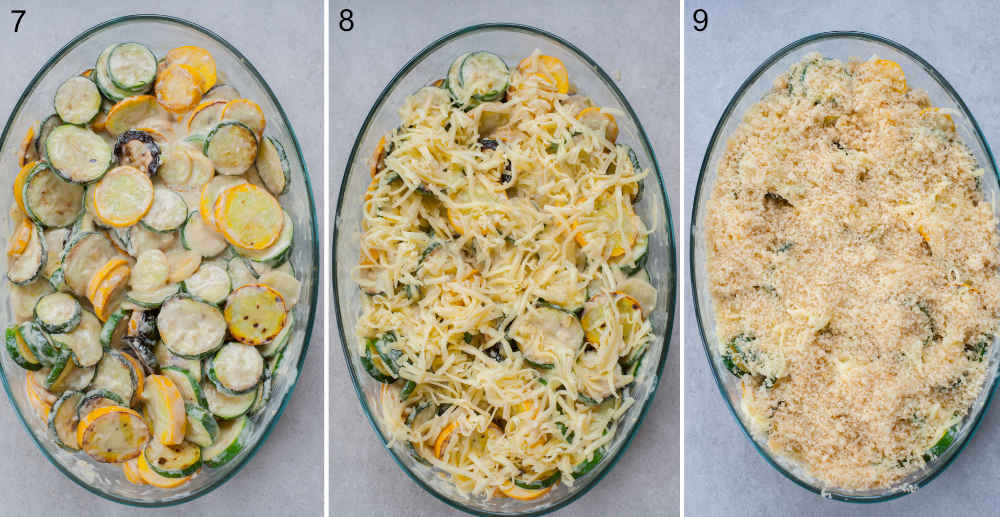 a collage of three photos showing assembling steps of zucchini gratin